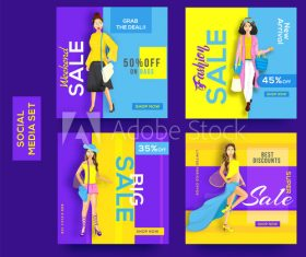 Female clothing discount poster design vector