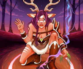 Female faun is doing an healing ritual vector