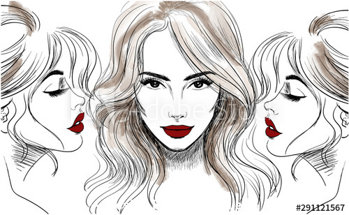 Female front and side face sketch vector
