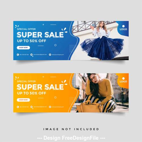 Female product advertising banner vector