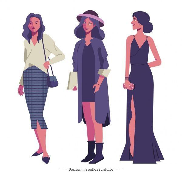 Female fashion icons elegant cartoon characters sketch vector design