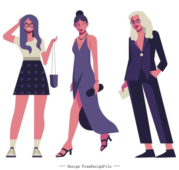 Female fashion models icons modern cartoon characters vector