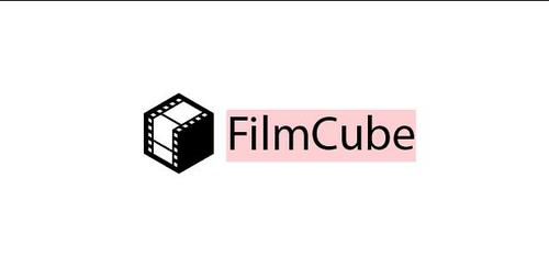 Film cube logo template vector