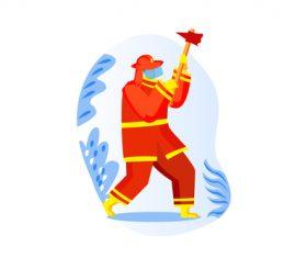 Firefighter cartoon with an axe vector