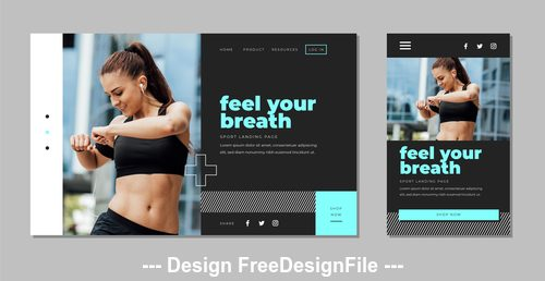 Fitness page template design card vector