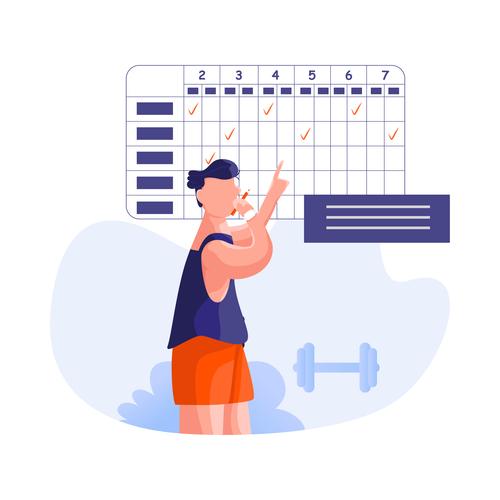 Fitness plan cartoon illustration vector