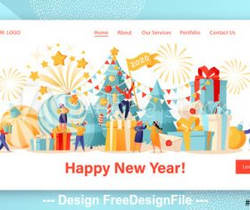 Flat character website layout celebrate new year vector
