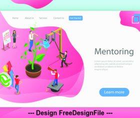 Flat isometric vector 3d concept illustration mentoring