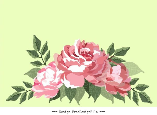 Flora painting blooming vector design