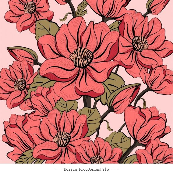 Flora painting colored decor blooming vector