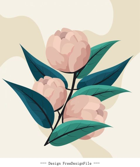 Floral painting colored retro buds leaves vector material