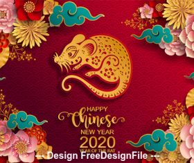 Flower and rat new year greeting card vector