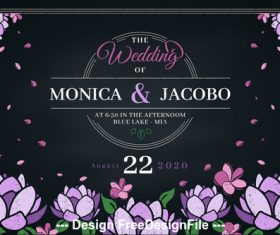 Flower background wedding invitation design vector