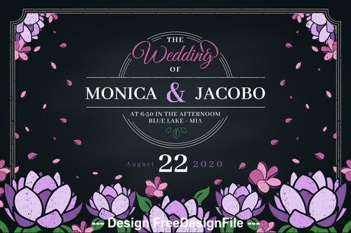 Flower background wedding invitation design vector