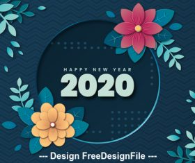 Flower decoration 2020 christmas new year card vector