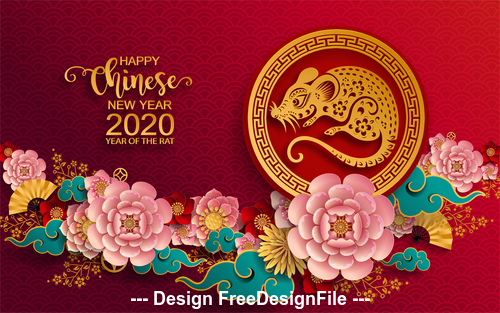 Flower decoration silhouette rat new year greeting card vector