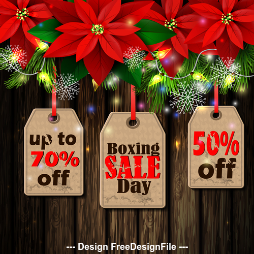 Flower decorative christmas sale tag vector