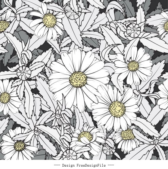 Flower background blooming closeup classical decor vector