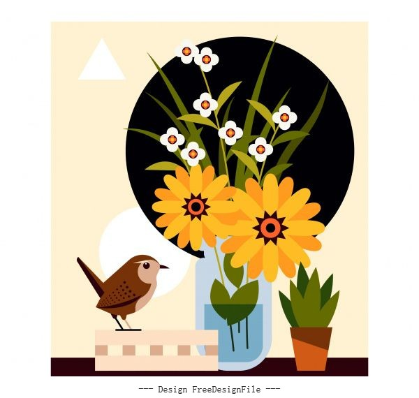 Flower bird background multicolored design vector