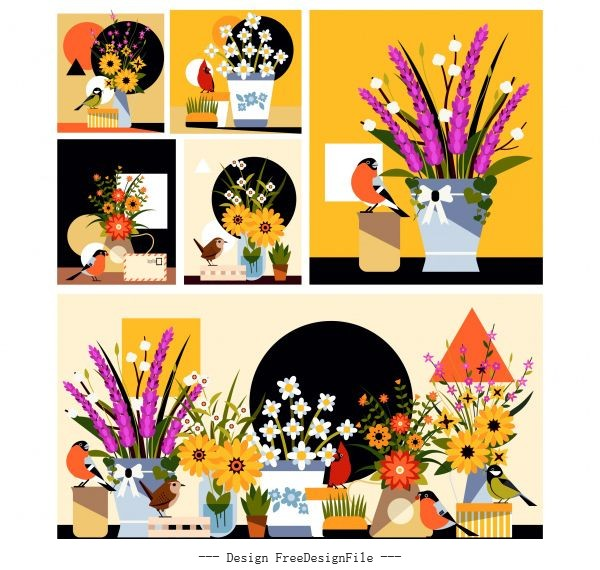 Flower bird background templates colorful classical vector