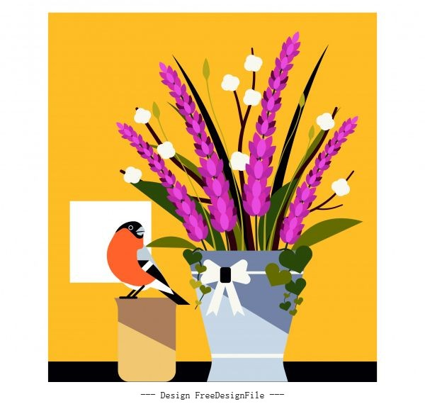 Flower bird painting colored classical flat vector