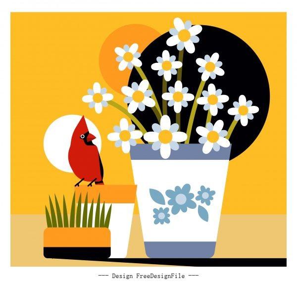 Flower bird painting classical design vector