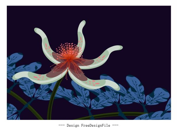 Flower painting 3d dark colored vector material