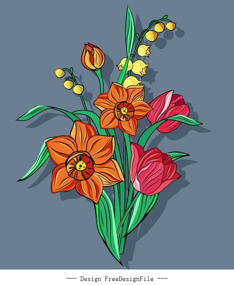 Flower painting blooming colorful classical vector