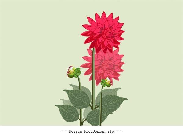 Flower painting colored design vectors