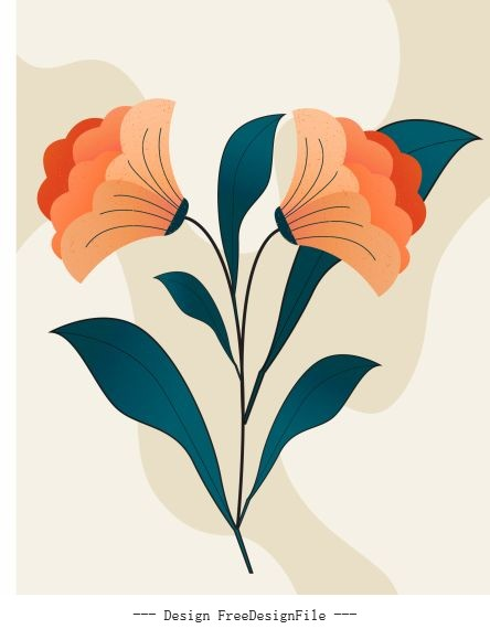 Flower painting colored flat vector