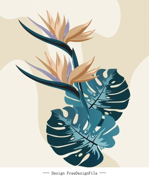 Flower painting colored classical vector