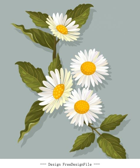 Flower painting colored retro blooming illustration vector