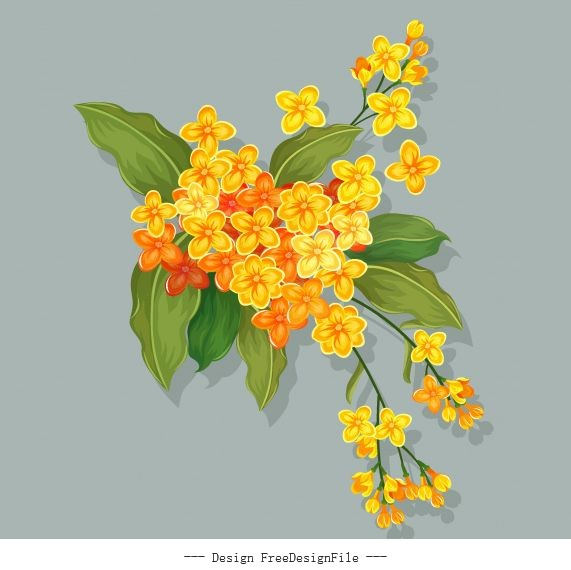 Flower painting colored retro handdrawn vector