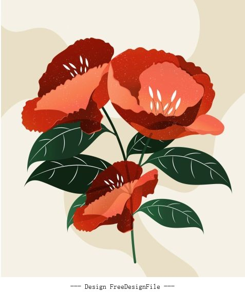Flower painting colored retro vector