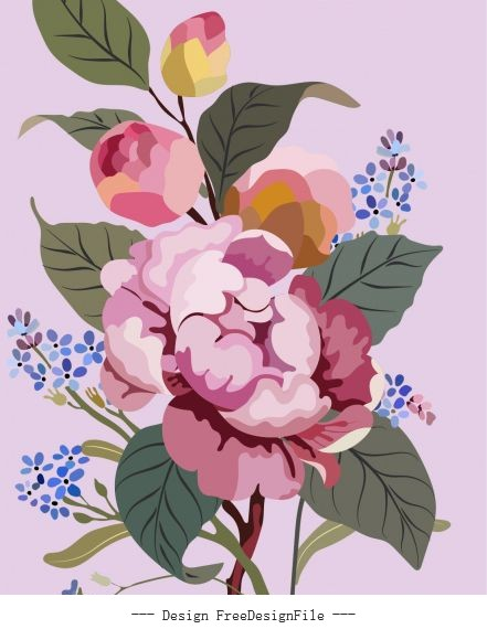 Flower painting colorful vintage set vector