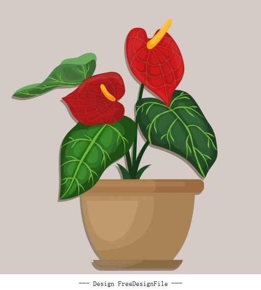 Flowerpot colored flat vector