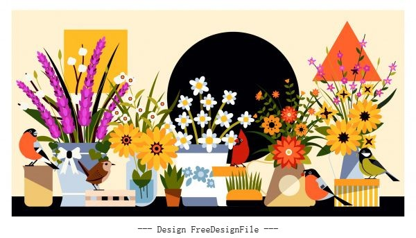 Flowers birds background colorful classical set vector