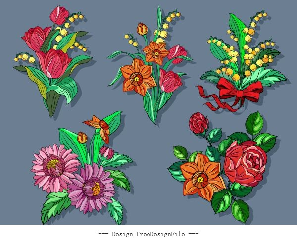 Flowers icons colorful classical vector design