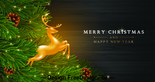 Flying deer with christmas background vector