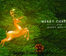 Flying deer with holly decoration christmas background vector