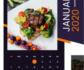 Food 2020 calendar vector
