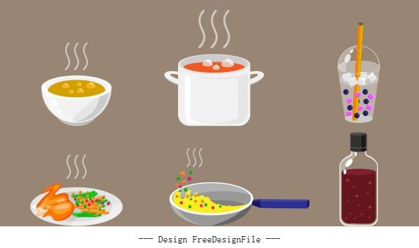 Food drink icons colored calssical vector