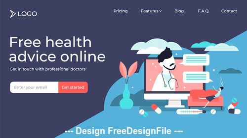 Free health advice online flat illustration vector