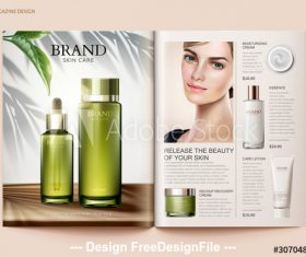 Fresh skin care magazine vector template