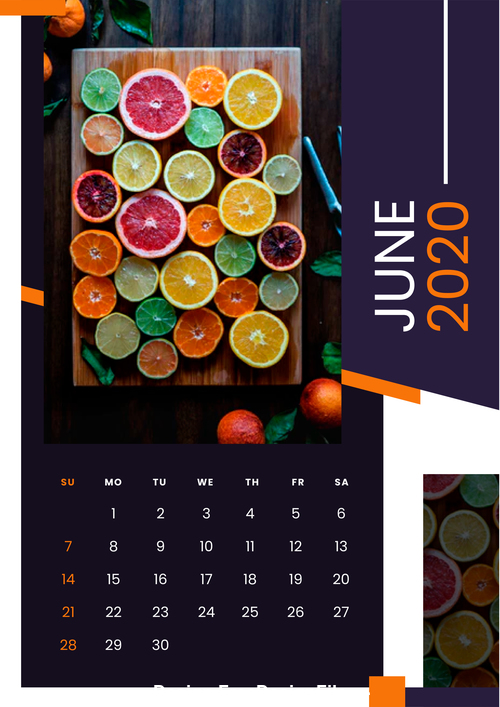 Fruit food 2020 calendar vector