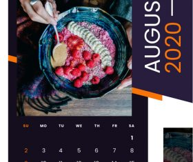 Fruit salad food 2020 calendar vector