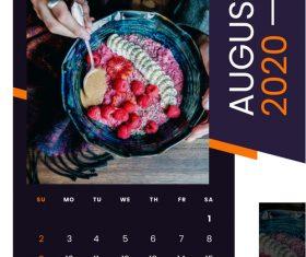 Fruit salad food 2020 calendar vector