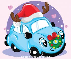 Funny car christmas greeting card vector