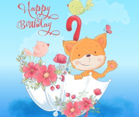 Funny cartoon animals with flowers card illustration vector