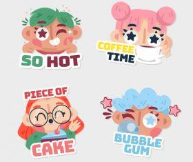 Funny cartoon character illustrations vector